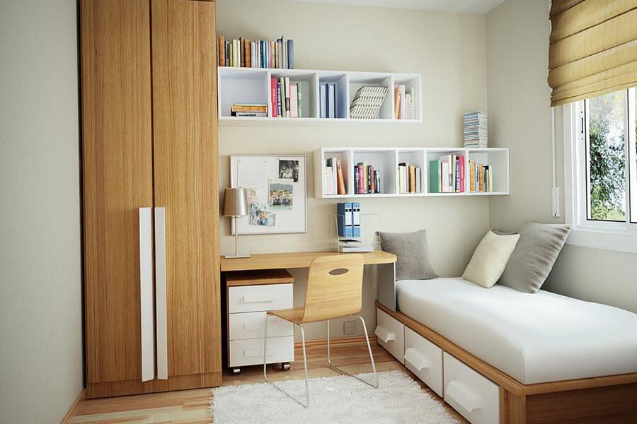 kê giường nội thất phòng ngủ sát góc