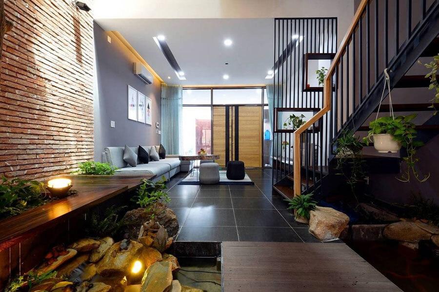mẫu thiết kế nội thất phòng khách nhà ống
