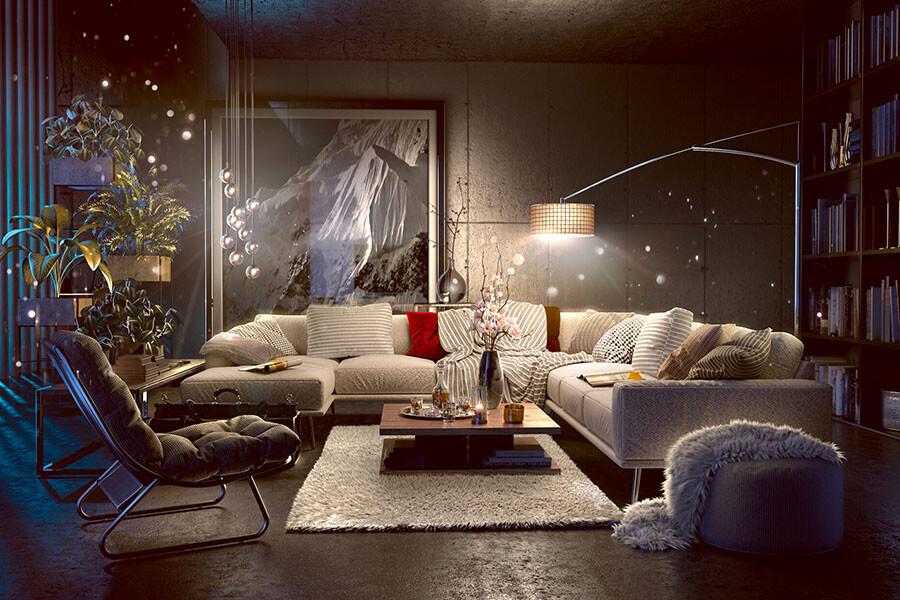 cách trang trí đèn phòng khách