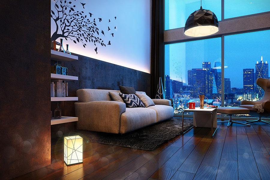 trang trí đèn phòng khách đơn giản